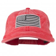 Silver American Flag Embroidered Washed Cap - Red
