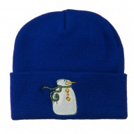 Snowman with Scarf Embroidered Cuff Beanie - Royal