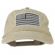 Silver American Flag Embroidered Washed Cap - Khaki