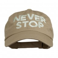 Never Stop Embroidered Washed Cap - Khaki