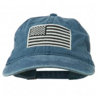 Silver American Flag Embroidered Washed Cap - Navy