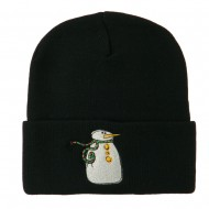 Snowman with Scarf Embroidered Cuff Beanie - Black