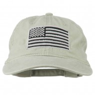 Silver American Flag Embroidered Washed Cap - Stone