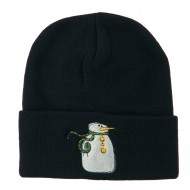 Snowman with Scarf Embroidered Cuff Beanie - Navy