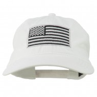Silver American Flag Embroidered Washed Cap - White