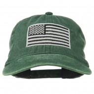 Silver American Flag Embroidered Washed Cap - Dark Green