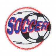 Soccer Embroidered Patches - White