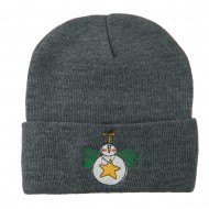 Snowman Christmas Ornament Embroidered Beanie - Grey