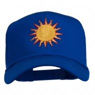 Sun Outline Embroidered Mesh Cap - Royal