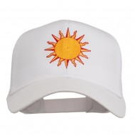 Sun Outline Embroidered Mesh Cap - White