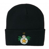 Snowman Christmas Ornament Embroidered Beanie - Navy