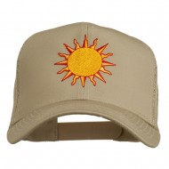 Sun Outline Embroidered Mesh Cap - Khaki