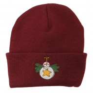 Snowman Christmas Ornament Embroidered Beanie - Maroon