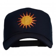 Sun Outline Embroidered Mesh Cap - Navy