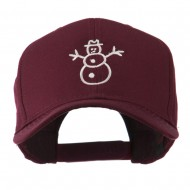 Christmas Snowman Outline Embroidered Cap - Maroon