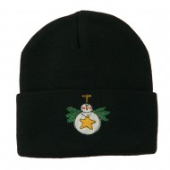 Snowman Christmas Ornament Embroidered Beanie - Black