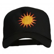 Sun Outline Embroidered Mesh Cap - Black