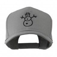 Christmas Snowman Outline Embroidered Cap - Grey
