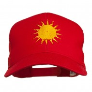 Sun Outline Embroidered Mesh Cap - Red