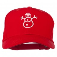 Christmas Snowman Outline Embroidered Cap - Red