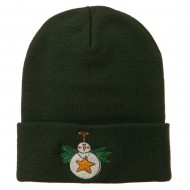 Snowman Christmas Ornament Embroidered Beanie - Olive