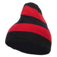 Striped Knit Short Beanie - Black Red