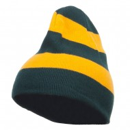 Striped Knit Short Beanie - Green Gold