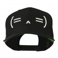 Sleeping Text Emoticon Embroidered Snapback Cap - Black