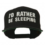 I'd Rather Be Sleeping Embroidered Flat Bill Cap - Black