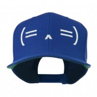 Sleeping Text Emoticon Embroidered Snapback Cap - Royal