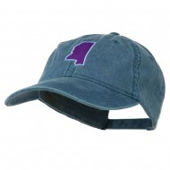 Mississippi State Map Embroidered Washed Cotton Cap - Navy