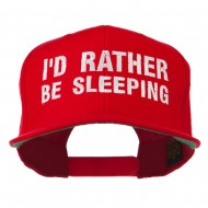 I'd Rather Be Sleeping Embroidered Flat Bill Cap - Red