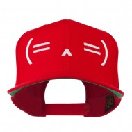 Sleeping Text Emoticon Embroidered Snapback Cap - Red