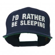 I'd Rather Be Sleeping Embroidered Flat Bill Cap - Navy