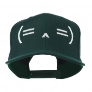 Sleeping Text Emoticon Embroidered Snapback Cap - Spruce