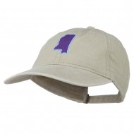 Mississippi State Map Embroidered Washed Cotton Cap - Stone Grey