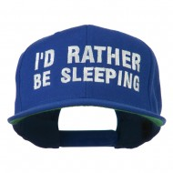 I'd Rather Be Sleeping Embroidered Flat Bill Cap - Royal