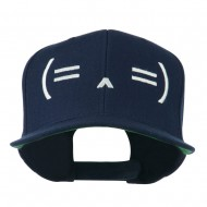 Sleeping Text Emoticon Embroidered Snapback Cap - Navy