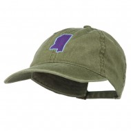 Mississippi State Map Embroidered Washed Cotton Cap - Olive Green