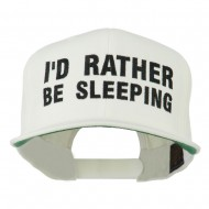 I'd Rather Be Sleeping Embroidered Flat Bill Cap - Natural