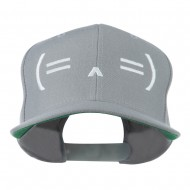 Sleeping Text Emoticon Embroidered Snapback Cap - Silver