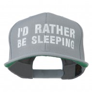 I'd Rather Be Sleeping Embroidered Flat Bill Cap - Silver