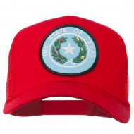 Texas State Seal Patched Cotton Twill Mesh Cap - Red