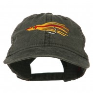 Salmon Squid Rig Embroidered Washed Cap - Black