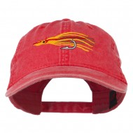 Salmon Squid Rig Embroidered Washed Cap - Red