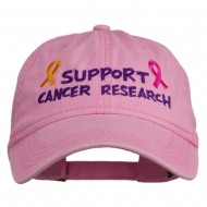 Support Cancer Research Embroidered Washed Cap - Pink