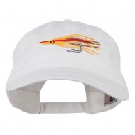 Salmon Squid Rig Embroidered Washed Cap - White