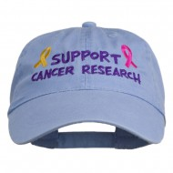 Support Cancer Research Embroidered Washed Cap - Lavender
