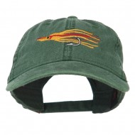 Salmon Squid Rig Embroidered Washed Cap - Dark Green