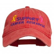 Support Cancer Research Embroidered Washed Cap - Red